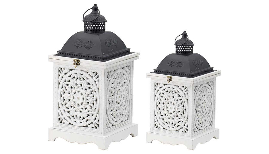 Picture of HZ Wht Wd Blk Hndl Lantern Small