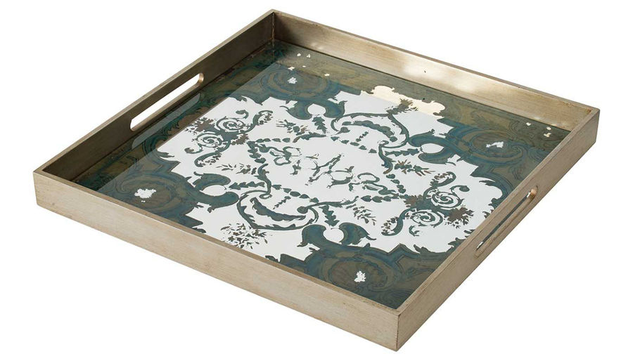 Picture of HZ Square Grn/Gld Mirror Dec Tray