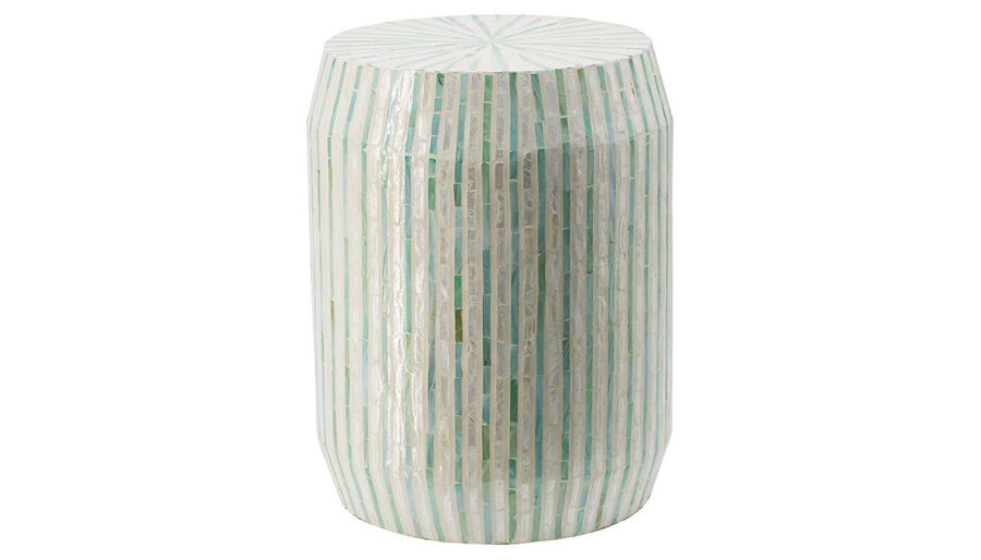Picture of HZ Wht W/Blue Grn Capiz Stool