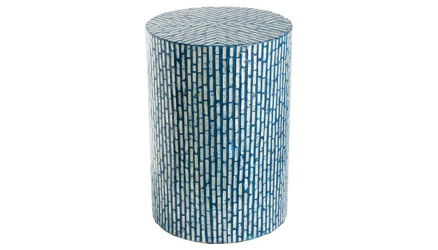 Picture of HZ Blue Capiz Stool