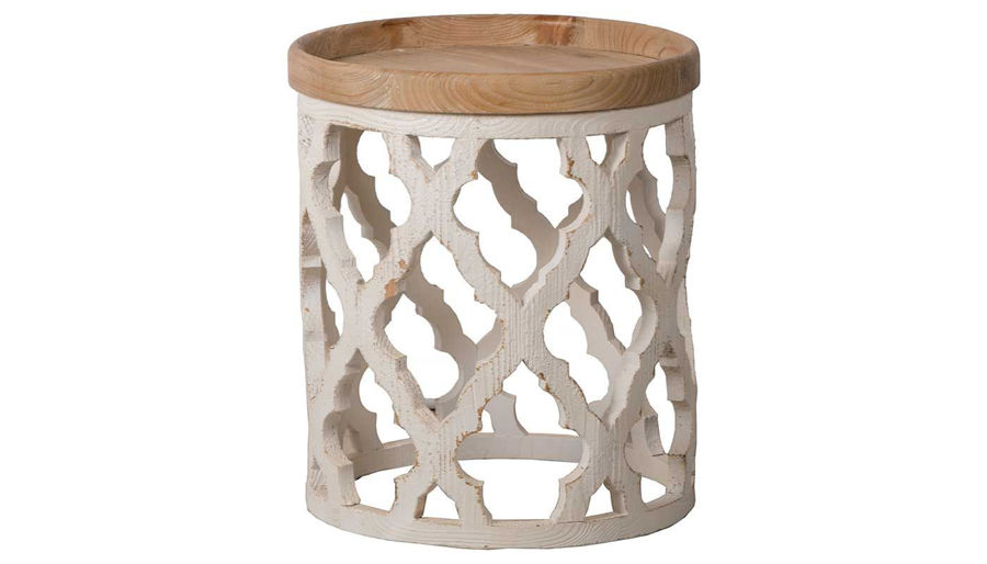 Picture of HZ Large Dstrsd White Side Table