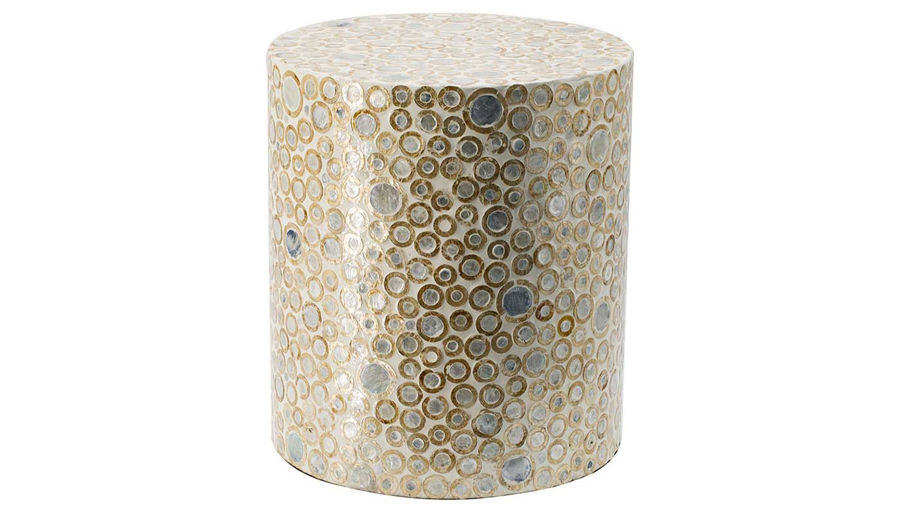 Picture of HZ Gold Circle Ptrn Capiz Stool