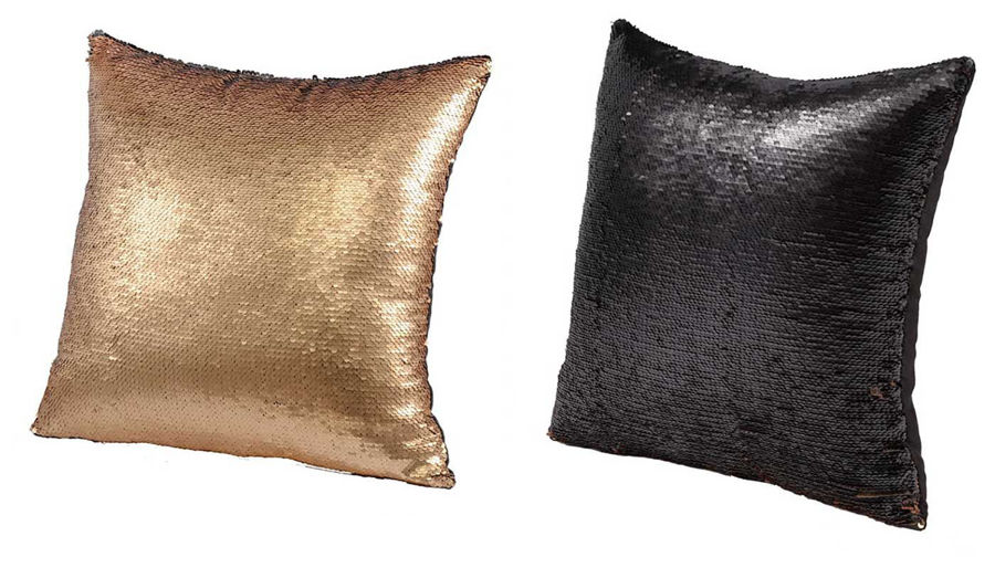 Picture of HZ Gld/Blk Sequin Pillow Ast 2