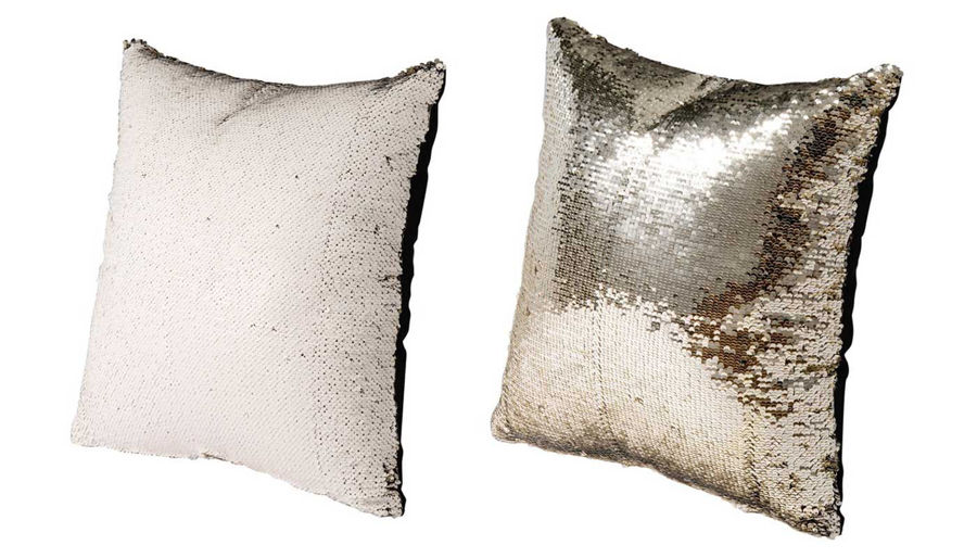 Picture of HZ Wht/Gld Sequin Pillow Ast 2
