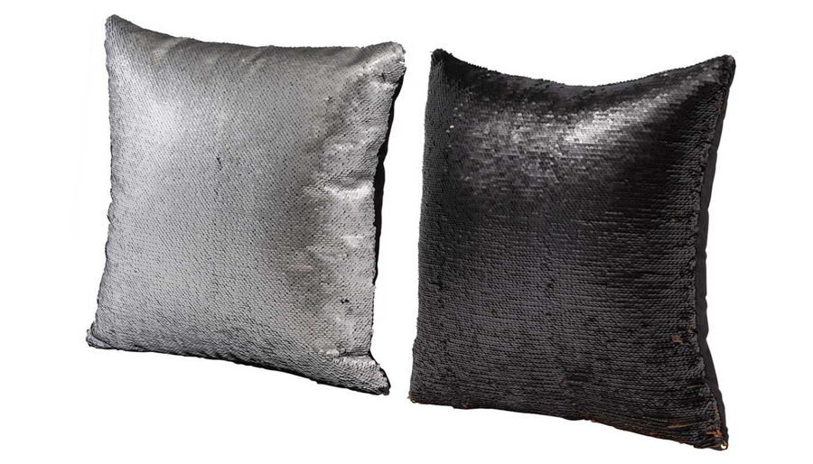 Picture of HZ Slv/Blk Sequin Pillow Ast 2