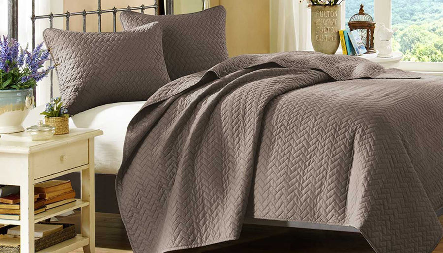 Picture of Velvet Touch Taupe Coverlet Set
