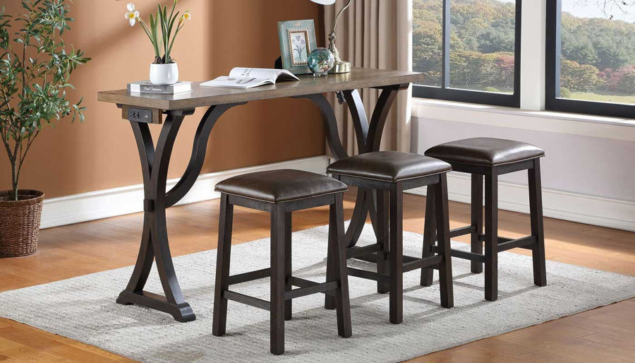 Imagen de Petaluma Oak Bar Table with 3 Stools