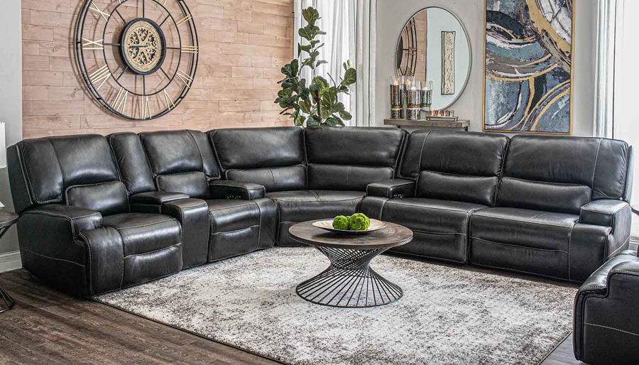 Picture of Lake Como Black Cherry Power Sectional