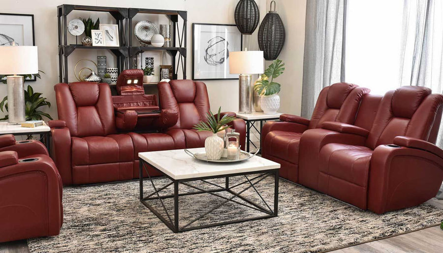 Picture of Panther 2 Red Power Sofa, Loveseat & Recliner